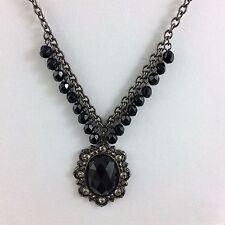 Black Cabachon Pendant Necklace Filigree 1928 Goth Victorian Revival Steampunk