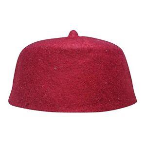 045ec216ccb TheKufi Maroon Felt Wool Fez Muslim Hat with Tip Kufi Prayer Cap ...