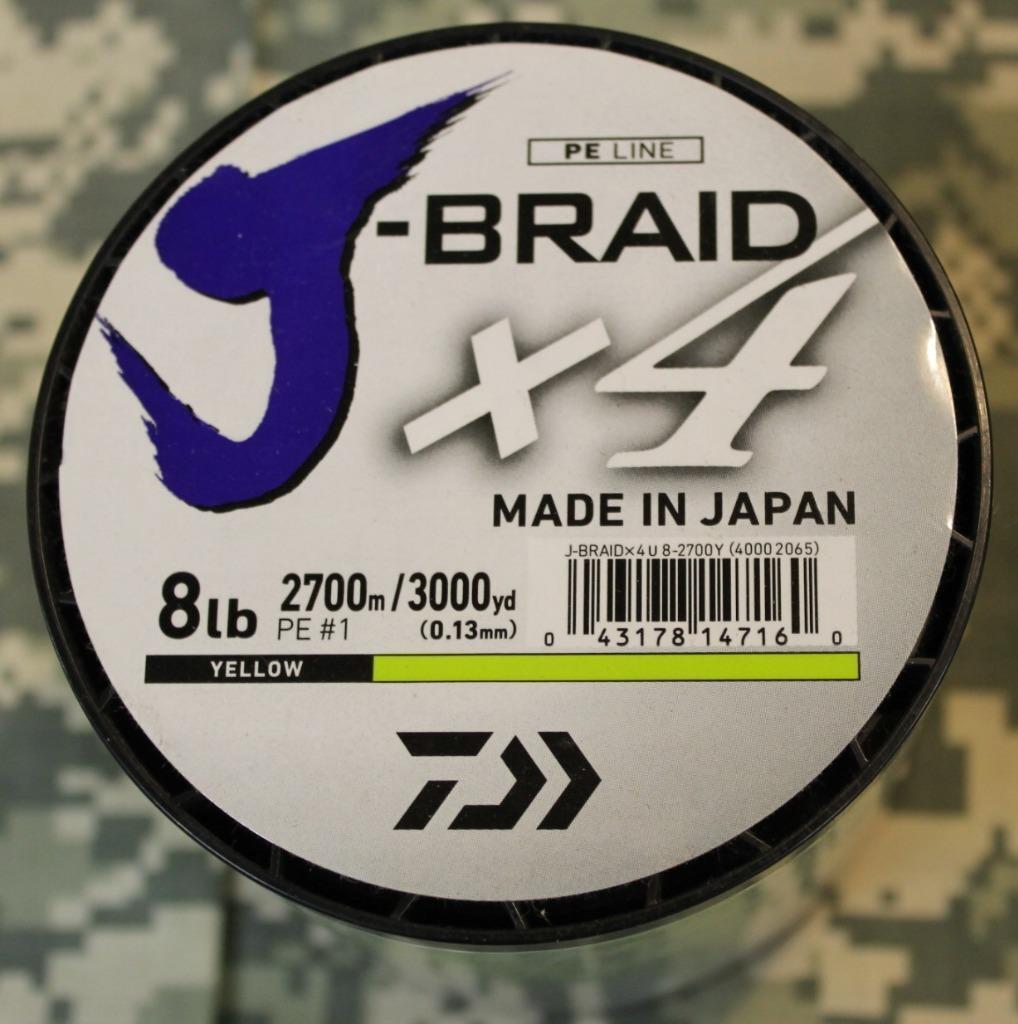 BRAND NEW Spool Daiwa J-Braid x4 Braided Fishing Line 8  Test 3000 Yards Gelb