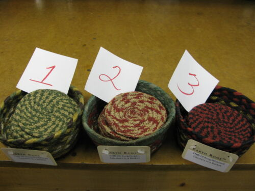 NEW-6 COTTON COASTERS in a JUTE BASKET from CAPITOL EARTH-Choose from 3 styles.