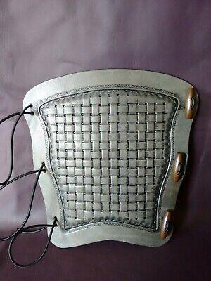 leather archery arm guard,bracer,armguard,larp,pagan Tooled Basket weave type 1