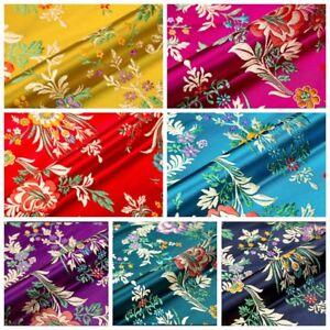 Satin-Faux-Silk-Fabric-Chinese-Begonia-Flower-Damask-Brocade-Bag-Costume-Vintage