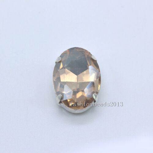 12 glass 20x30mm sew on Foiled big Oval Czech crystal rhinestones dress diy Y-pk