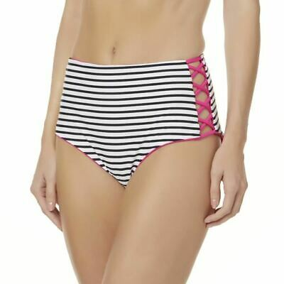 Bongo Juniors Reversible Striped Swim High Waist Bikini Bottoms Size XL NWT