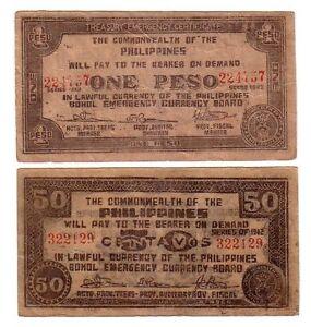 Filippine-Philippines-50-centavos-1-peso-1942-BB-VG-Guerrigli-lotto-1641