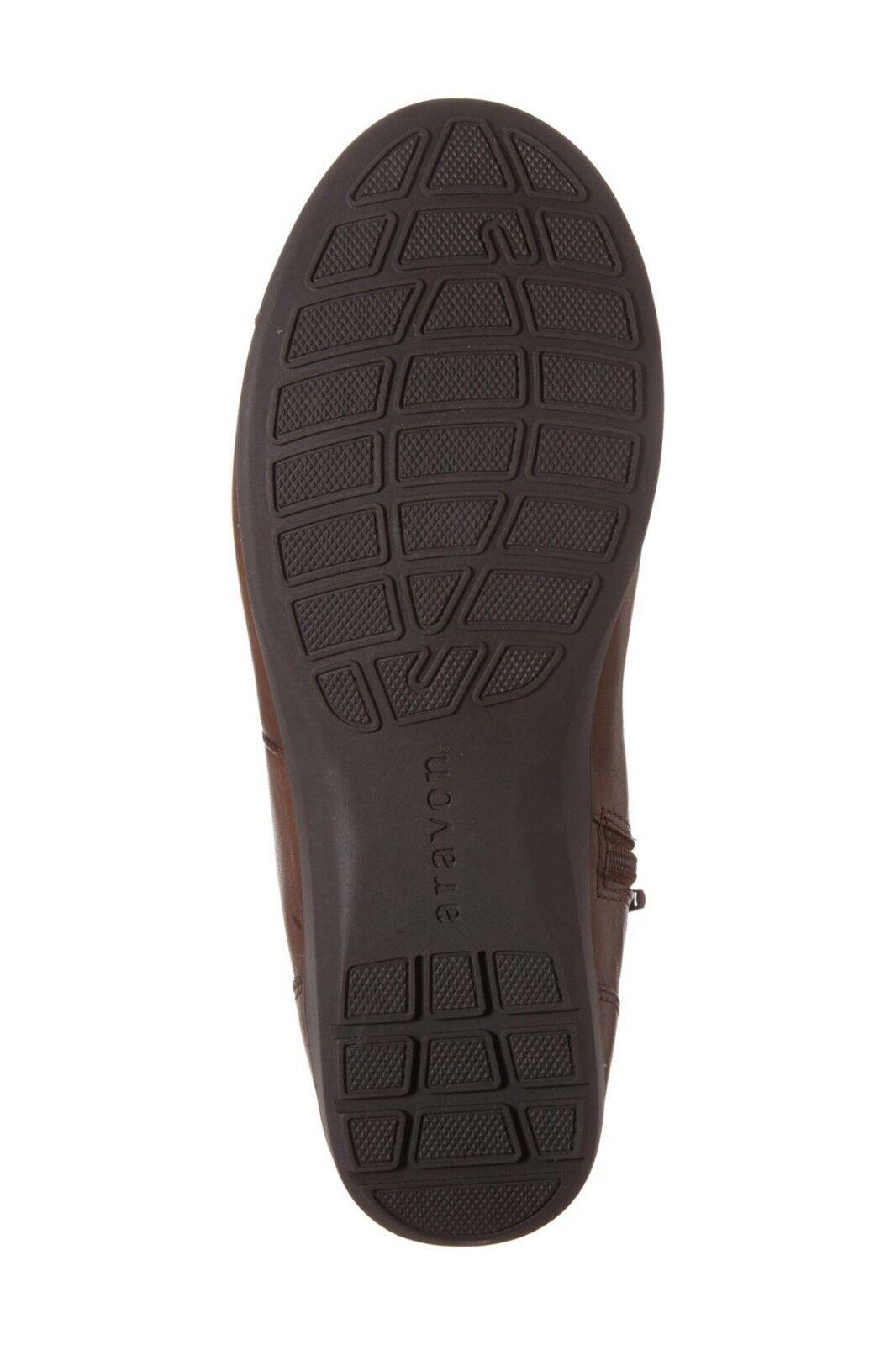 Aravon Anstice mujer Comodidad Cuña bota de cuero para mujer Anstice Bota Ancha De 10 o 12 Nuevo en caja marrón 37f4cb