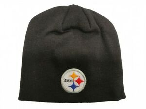 03ce8ee45906a Image is loading Pittsburgh-Steelers-Reebok-NFL-Uncuffed-Black-Knit-Hat-