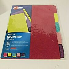 Avery Big Tab Reversible Fashion Dividers 5 Tabs 1 Set Assorted Glitter 24928