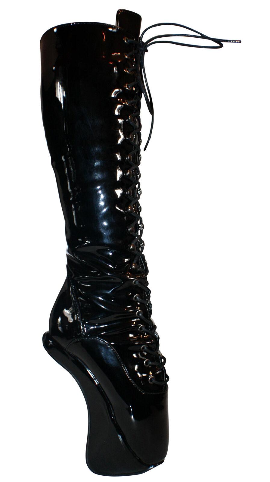 Extreme Ballett Heels Wedge High Heels Ballett Kniestiefel Stiefel Schwarz Lack Gr.37-46 #6529 ab9901