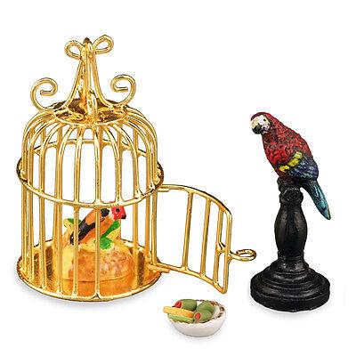 Fine Reutter Porzellan Perroquet Parrot Cage Set Maison De Poupée Maison De Poupées Latest Fashion Dolls & Bears Other Dollhouse Miniatures