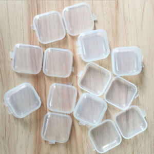 10Pcs-Clear-Plastic-Transparent-With-Lid-Small-Storage-Box-Collection-Container