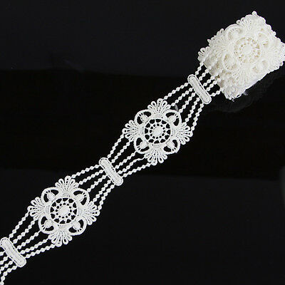 2 Yds 4.6cm Off-white Polyester Lace Trim Applique Dress For DIY Sewing Crafts