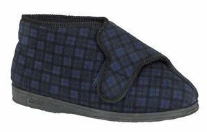 MENS 7 8 9 10 11 12 13 COMFYLUX BLUE WASHABLE STRAP WIDE FIT EEEE SLIPPER BOOTS