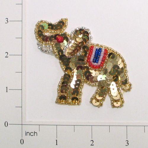 """GOLD ELEPHANT SEQUIN BEADED APPLIQUE 2.5/"""" E663"""