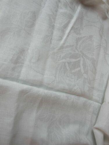 "VINTAGE WHITE IRISH LINEN DAMASK TABLECLOTH w LARGE ROSES 55/"" SQUARE"