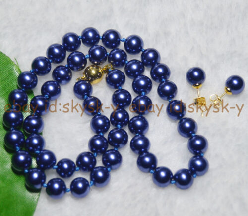 8 mm bleu foncé AAA South Sea Shell Pearl PERLES rondes colliers boucles d/'oreilles Set AAA