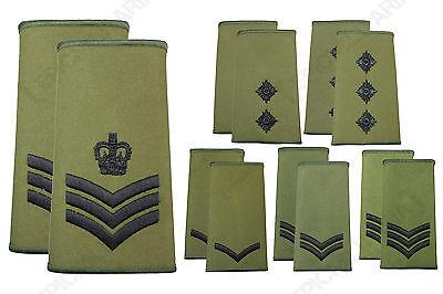 NEW British Army RANK SLIDES Olive Green Military Uniform Patches - Rank  Option | eBay