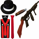 1920s AL CAPONE LOT PIMP RED GANGSTER HAT TIE BRACES TOMMY GUN CIGAR FANCY DRESS