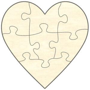 Blanko Holz Puzzle Herz 7 Teile 15 X 15 Cm Liebe Hochzeit Malen