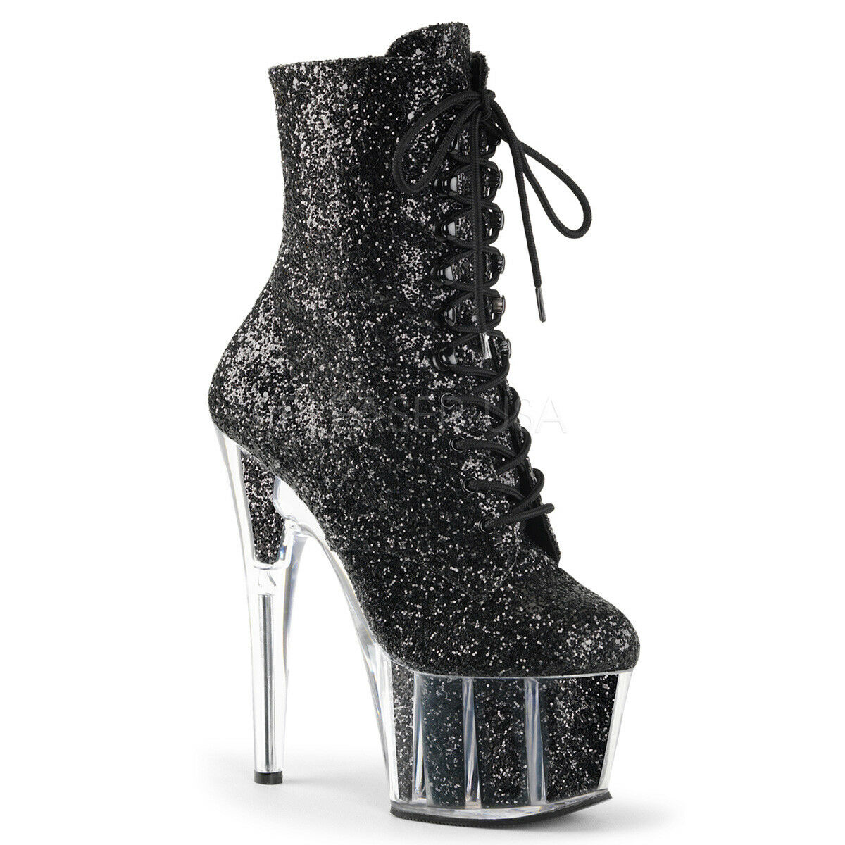 Pleaser ADORE-1020G Women's Sexy Black Glitter Heel Platform Lace-Up Ankle Boots