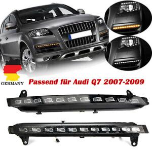 Paar-LED-DRL-Tagfahrlicht-Flackern-Blinker-Nebenscheinwerfer-Lampe-fuer-Audi-Q7