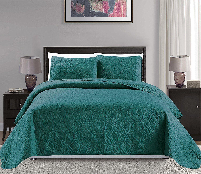 Fancy Linen 3pc Oversize Diamond Embossed Bedspread Solid Turquoise  New