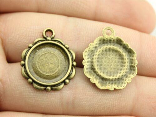 40pcs Fit 14 mm Cameo Cabochon Antique Bronze Ou Argent Rond À faire soi-même Bijoux Lunette