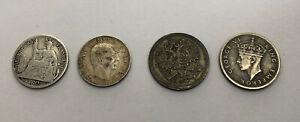 Lote 4 Pequeñas Monedas de Plata Indochina Serbia Rusia Rhodesia REF65414