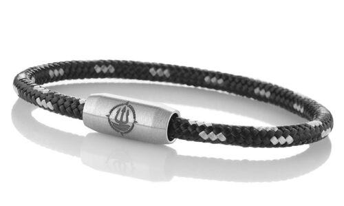 """Seemannsgarn /_ Maritimes Segeltau Armband /""""Usedom/"""" schwarz-grau 4mm"""