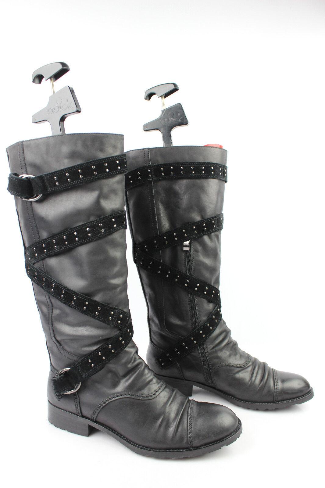 Stiefel NO NAME schwarzes Leder Streifen Wildleder Nietenbesetzt t 39