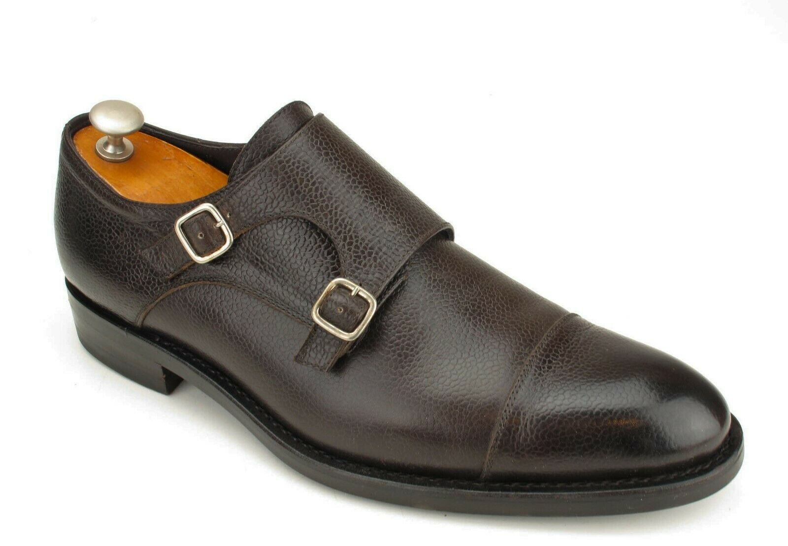 Isaia marrón ternegro Goodyear Welted Doble Monje Hecho a Mano 9.5 UK 10.5 US