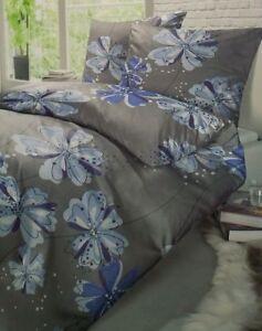 Details Zu Schiesser Renforce Bettwäsche Set Grau Blumen Muster 155 X 220 Cm