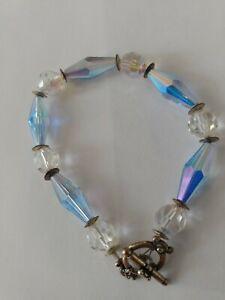 Vintage-1950-039-s-Crystal-Aurora-Borealis-Glass-Bracelet-Old-cut-style