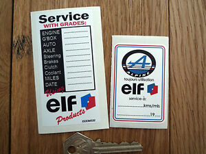 Alpine Renault Elf Oil Change Service Reminder Stickers Classic