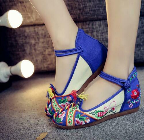 Cloth Shoes Wedges Embroidered Increase Within Shoes Women/'s Chinese Style Ske15