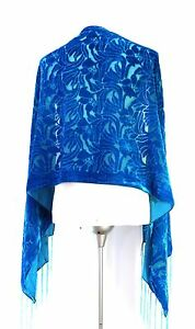 Elegant-Turquoise-Color-Vintage-Floral-Silk-Burnout-Velvet-Shawl-Wrap-Scarf
