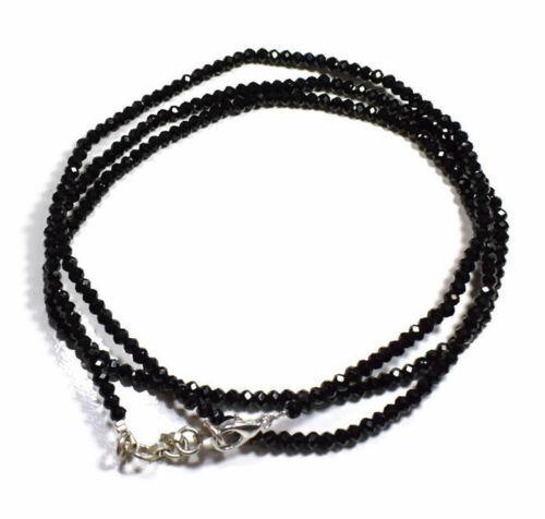 Noir Spinelle Gemme 4 MM Rondelle Perles Facettées 66cm Strand Ras Collier