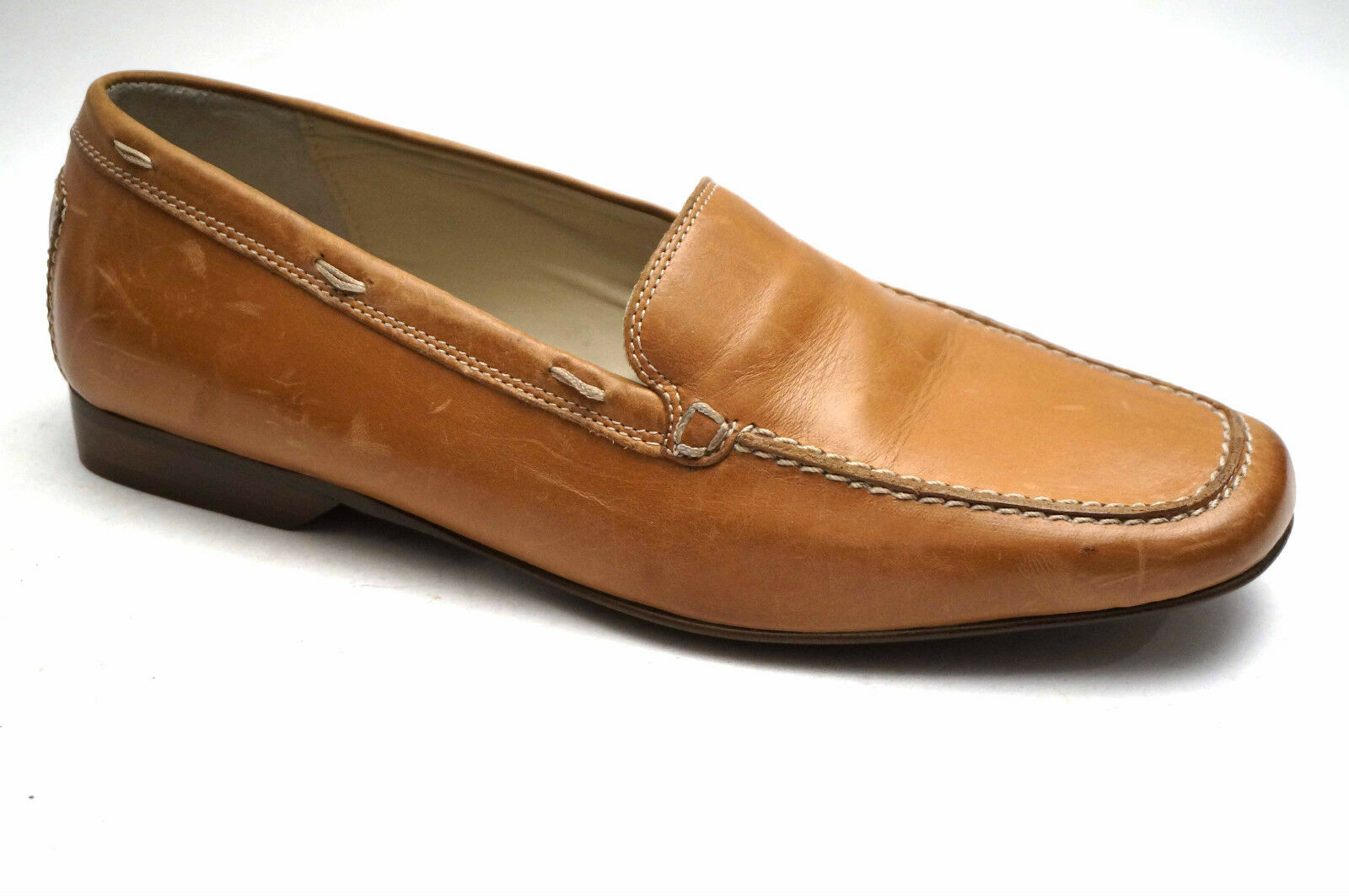 2633  women Carolina shoes classy Leather Slippers Size 40,5 (UK 7 ) Brown beige