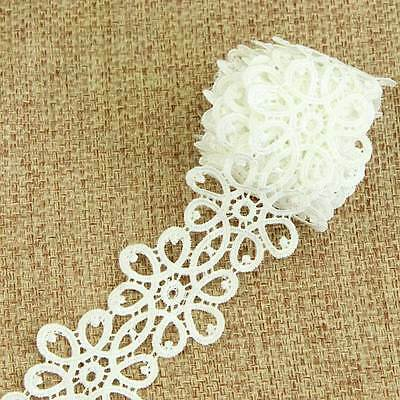 3 Yard White Fabric Flower Lace Trimming For Costume Dress Decor Sewing Applique
