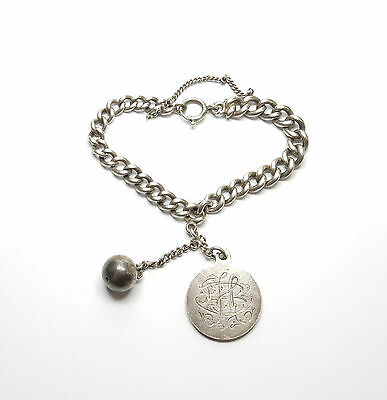 Antique Victorian Sterling Silver LOVE TOKEN & RINGING BELL ALBERT BRACELET 47g