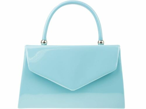 NEW PATENT LEATHER TOP HANDLE RETRO CLUTCH BAG WEDDING EVENING HAND BAG