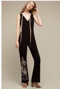 722984e0a826 Anthropologie HD in Paris Women s Black Floral Embroidered Jumpsuit ...