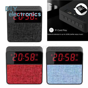 T1 Fabric Speaker Alarm Clock Card Bluetooth speaker Subwoofer Clock Display