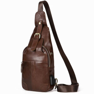 Mens-Genuine-Leather-Chest-Sling-Messenger-Bag-with-USB-Charge-Cross-body-Pack