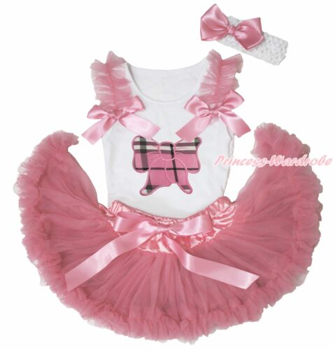 White Top Shirt Dusty Pink Plaid Kitty Bow Newborn Baby Girl Pettiskirt 3-12M