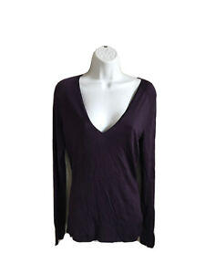 GUCCI-Sweater-V-neck-Dark-Purple-Top-M-Women-039-s-Lightweight-Ribbed-EUC-Fitted