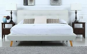 Details About Mid Century Linen Low Profile Platform Bed Frame Tufted Headboard Queen Ivory
