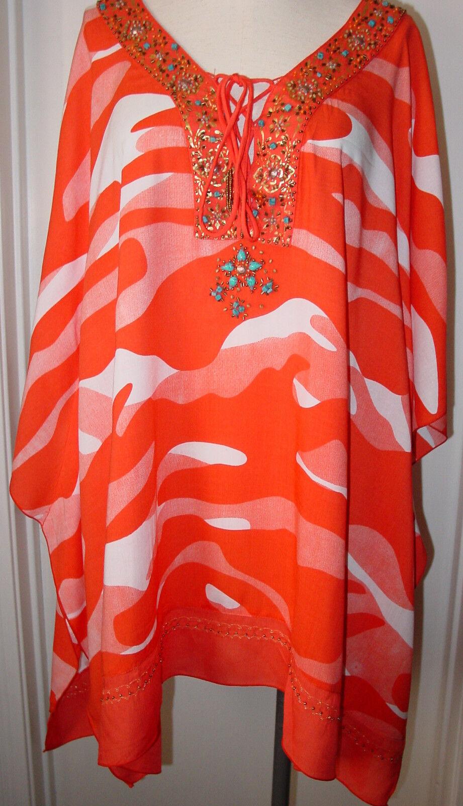 damen Tunic Top Blouse Coral Camo Orange Weiß Krista Lee Beads Embellished NEW