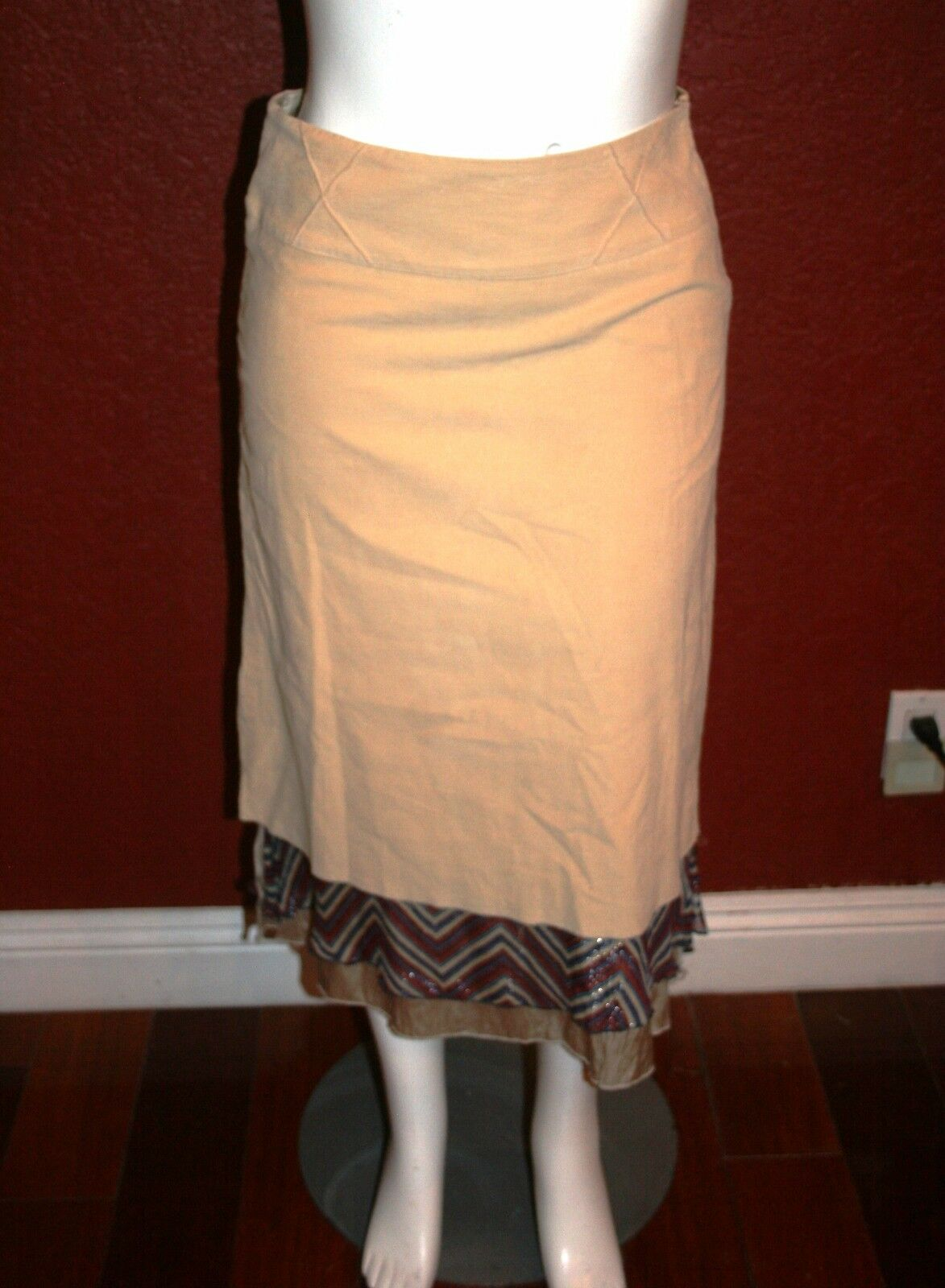 275 NWT GARMENTS OF LIGHT A-LINE SKIRT CORDUROYS  BROWN SIZE L