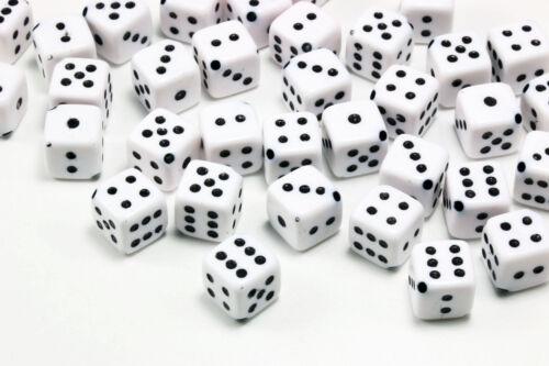 Spielwürfel Perlen 20 Stk 10x10x10 mm Würfel Acryl weiß Perle Kunststoff P-40